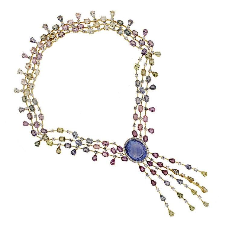 48.85 Carat Unheated Sapphire and Diamond Necklace 3