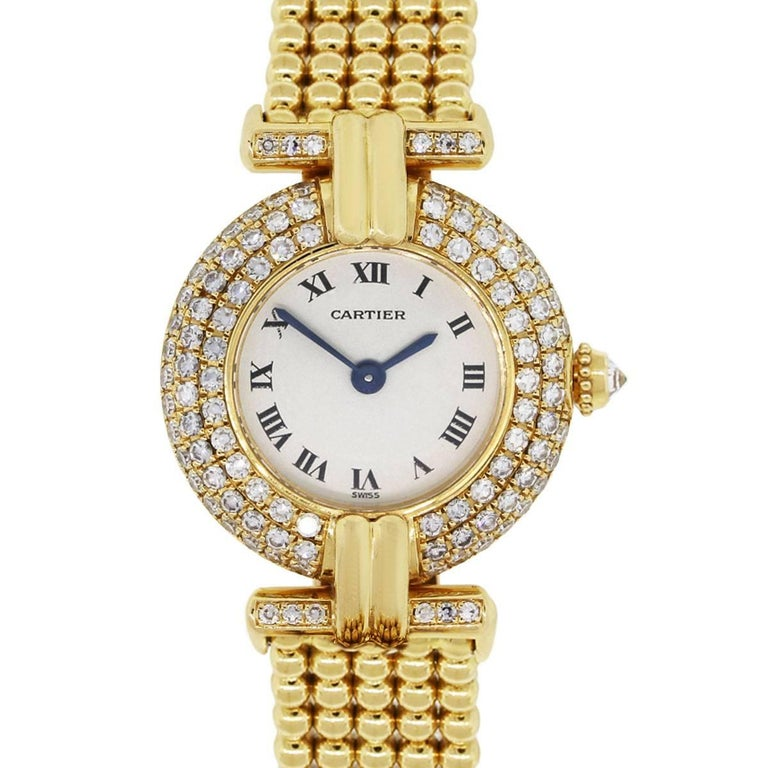 Cartier yellow gold Vintage Colisee Diamond Bezel Quartz Wristwatch, 1980