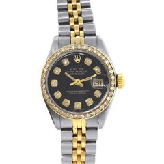 Rolex Ladies yellow gold Diamond Black Dial Datejust Wristwatch Ref 69173