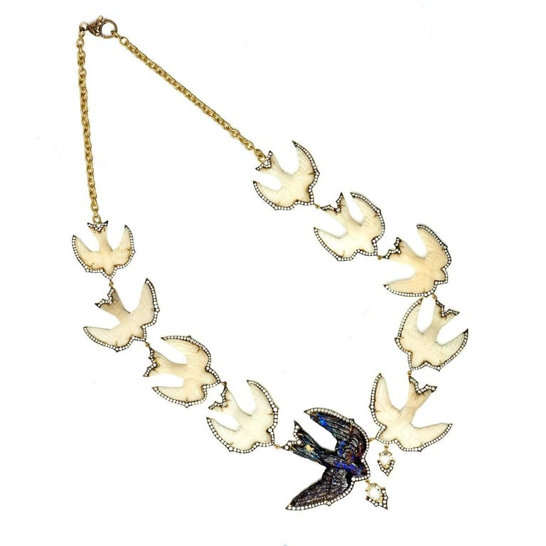 Sylva & Cie. Handmade Swallow Bird Tagua, Opal and Diamond Necklace For Sale