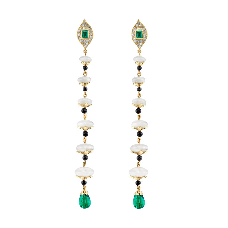KC Sukamto Tagua Emerald Onyx Diamond Yellow Gold Drop Earring