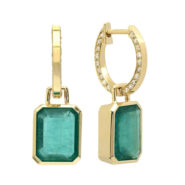 KC Sukamto Claudie Emerald Diamond Drop Earring For Sale