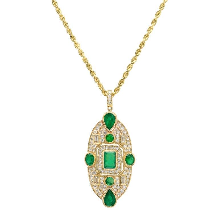 KC Sukamto Fideli Emerald Diamond Pendant Necklace