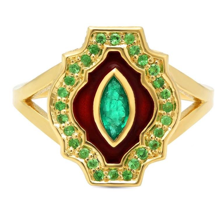 KC Sukamto Rumeli Emerald Tsavorite Enamel Yellow Gold Ring
