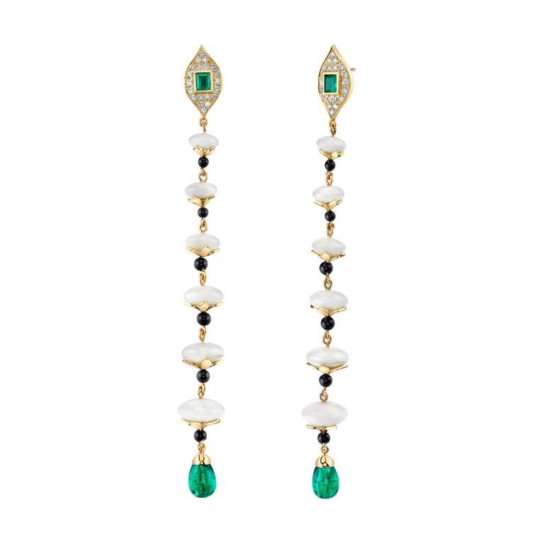 Women's KC Sukamto Tagua Emerald Onyx Diamond Yellow Gold Drop Earring For Sale