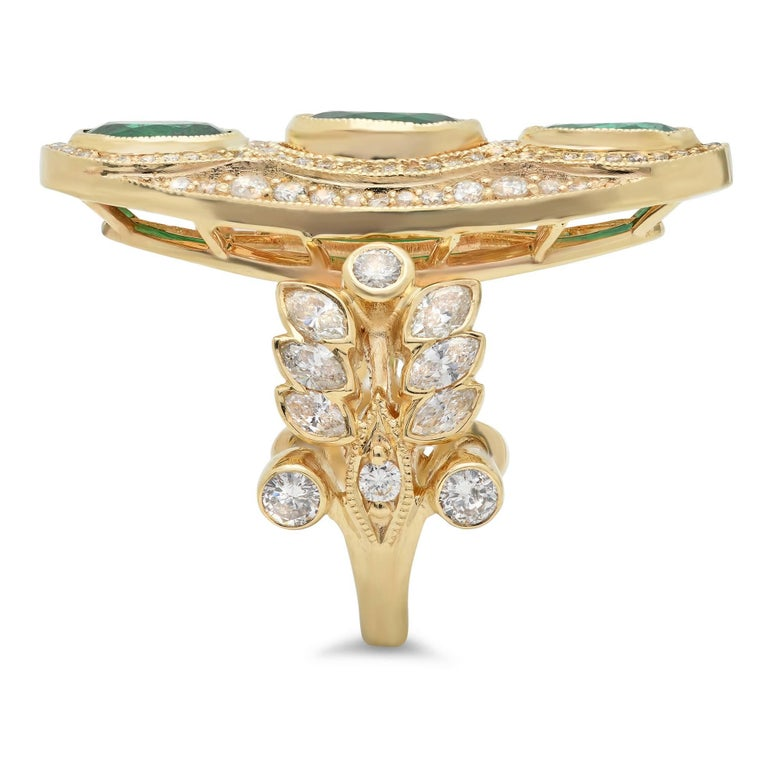 KC Sukamto Majeste Emerald Diamond Yellow Gold Cocktail Ring 3