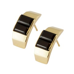 9 Karat Yellow Gold and Black Quartz Polygon Stud Earrings by Kattri