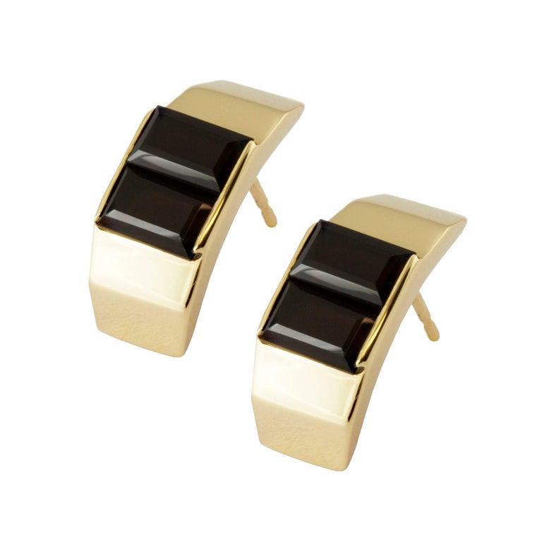 9 Karat Yellow Gold and Black Quartz Polygon Stud Earrings by Kattri