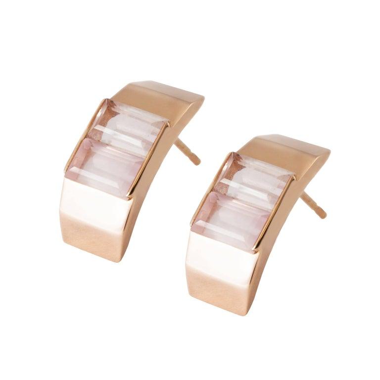 9 Karat Rose Gold and Rose Quartz Polygon Stud Earrings by Kattri