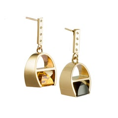 9 Karat Yellow Gold and Black Quartz and Sapphires Parabola Earrings by Kattri