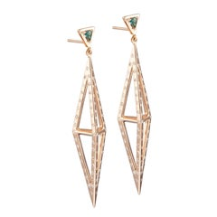 Tetrahedron Earring 18 K Rose Gold & Green Tourmaline and Diamonds By Kattri