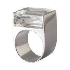 9 Karat White Gold and Crystal Short Quadrant Ring by Kattri