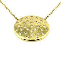 Series 'Lumieres'. Luminous Diamond Yellow Gold Planet Pendant Necklace