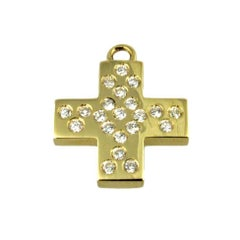 Bonds of Union 'Lumieres De Diamants' Yellow Gold Diamond Charm-Pendant Cross