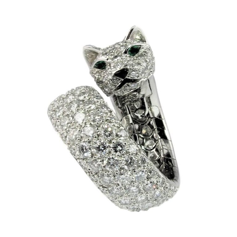 Women's or Men's  Cartier Diamond size 6 1/2 'Panthere de Cartier' White Gold Ring.  For Sale