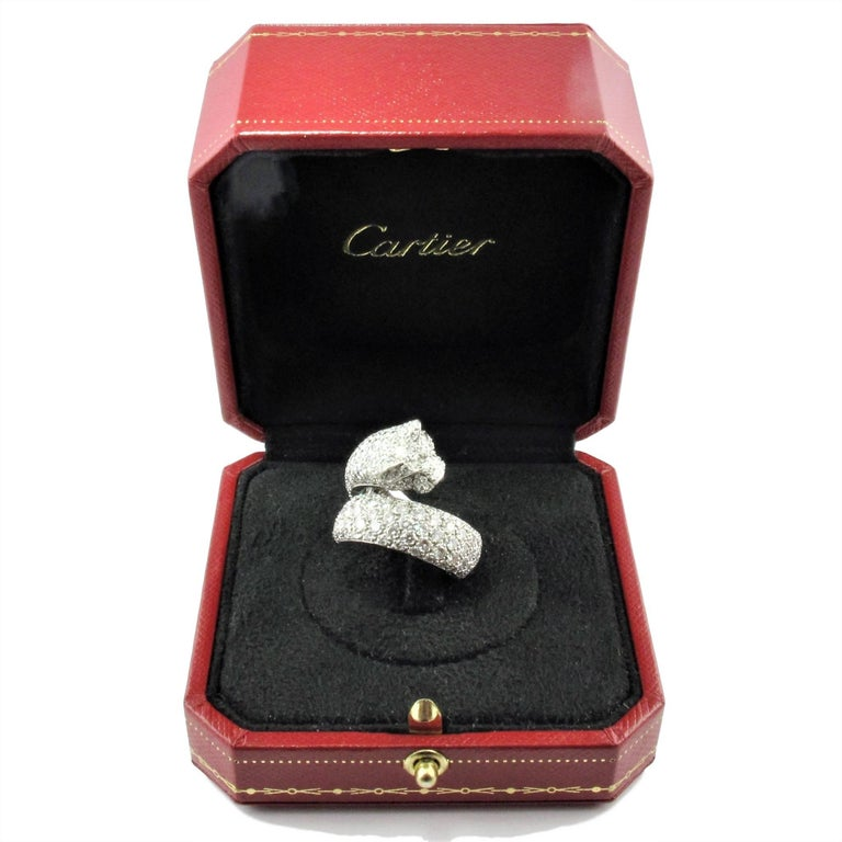 Cartier Diamond size 6 1/2 'Panthere de Cartier' White Gold Ring.  For Sale 2