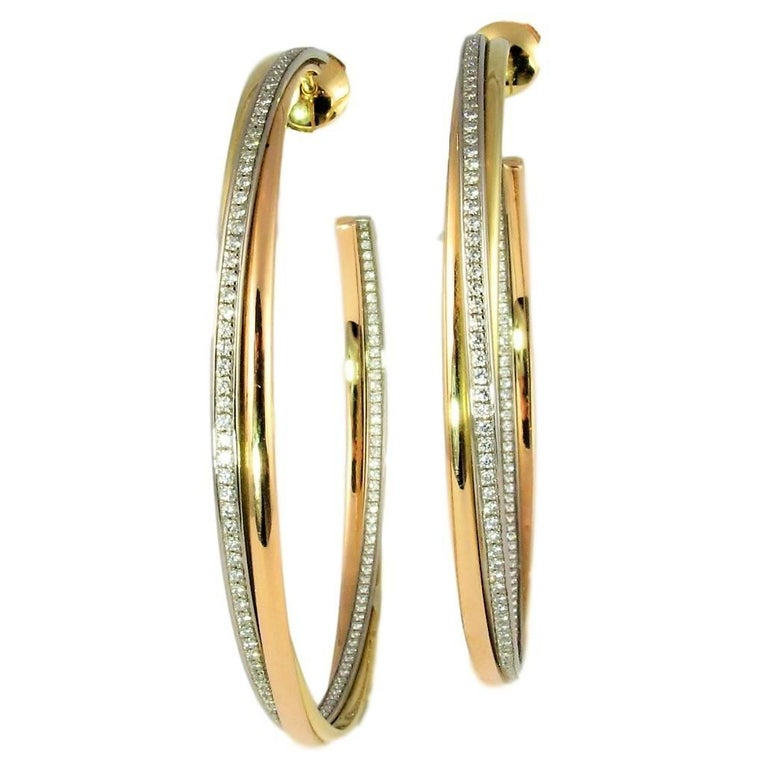 Cartier Diamond Hoop Trinity Earrings. Yellow, White and Rose Gold. Cartier Box