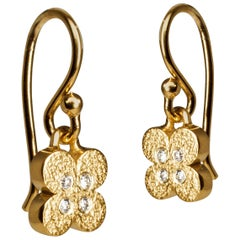 Bonds of Union Diamond Flower Yellow Gold Plated Dangle Earrings