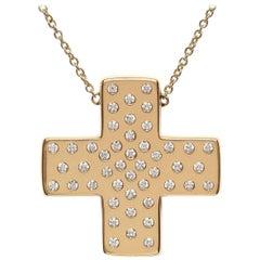 Series 'Les Lumineuses':   Love, Diamond Yellow Gold Cross Pendant Necklace