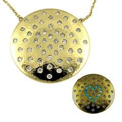'Les Lumineuses': Planet Love, Diamond Yellow Gold Pendant Necklace