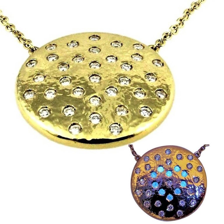 Performance Art:  DIAMONDS IN LOVE  on PLANET LOVE Yellow Gold Pendant Necklace