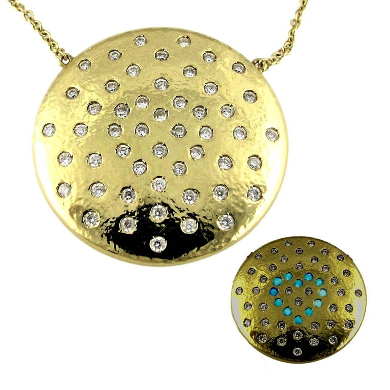 Performance Art :  DIAMONDS IN LOVE on PLANET LOVE Yellow Gold Pendant Necklace