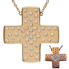 Performance Art :  DIAMONDS IN LOVE  on Yellow Gold Cross Pendant Necklace