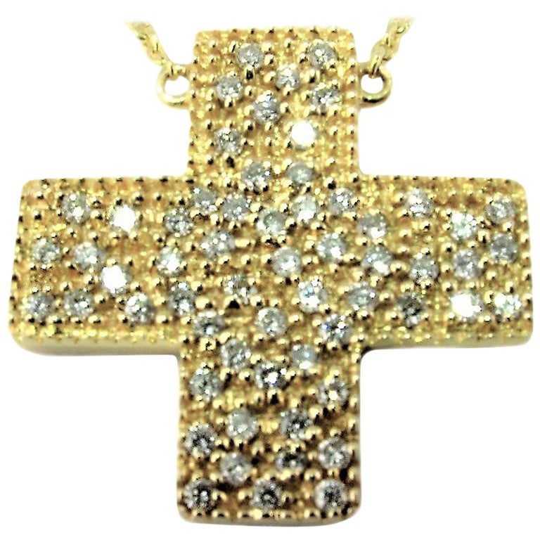 Round Cut DIAMONDS IN LOVE  on Yellow Gold Cross Pendant Necklace   For Sale