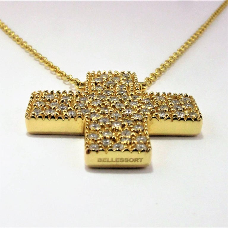 DIAMONDS IN LOVE  on Yellow Gold Cross Pendant Necklace   For Sale 3