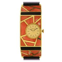 Zenith Ladies Yellow Gold Coral Onyx Mosaic Manual Wind Wristwatch 1970s