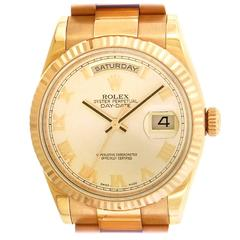 Rolex Yellow Gold Day-Date Water-Resistant Self-Winding Wristwatch Ref 118235F