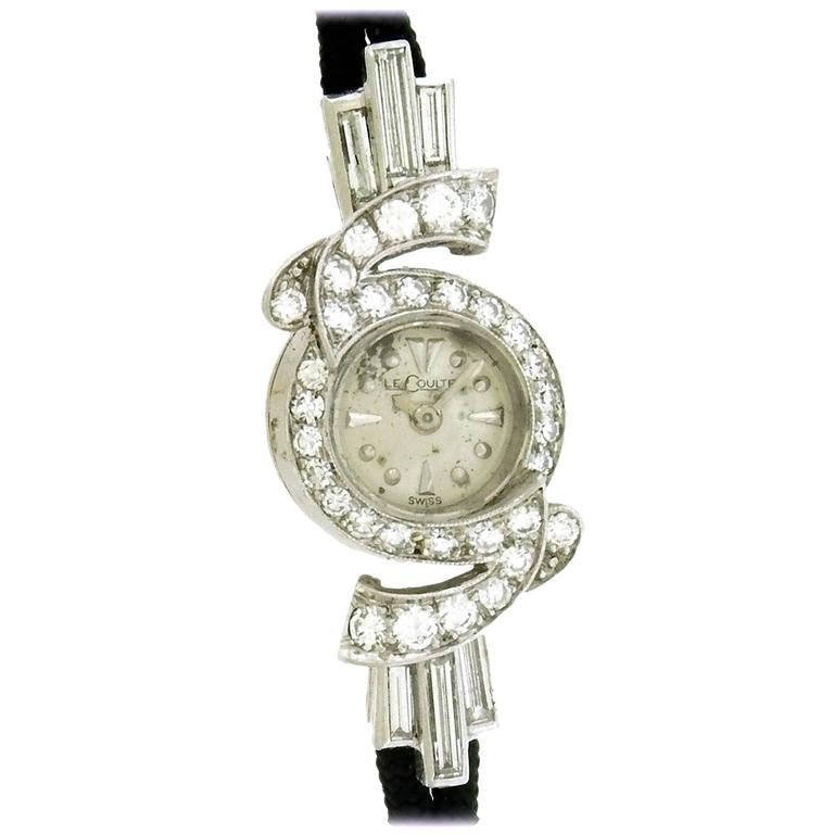 Jaeger LeCoultre Ladies Platinum Diamond Cocktail Wristwatch, circa 1950s