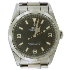 Rolex Stainless Steel Explorer I Oyster Perpetual Wristwatch Ref 14270
