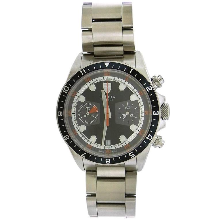 Stainless steel Tudor Heritage chronograph,  Ref. 70330, circa 2010, is a self-winding water-resistant, stainless steel round-button chronograph, with a stainless steel Tudor Oysterlock bracelet, accompanied by the original fitted box, guarantee,and