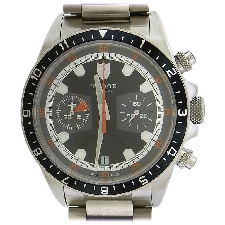 Tudor Stainless Steel Chronograph self-winding Wristwatch Ref 70330N For Sale