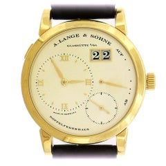 A. Lange & Sohne Yellow Gold Date Power Reserve Manual Wind Wristwatch
