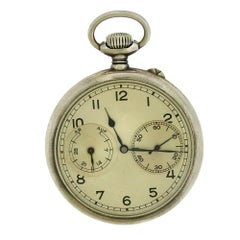 A. Lange & Sohne Silver Military Manual Wind Pocket Watch