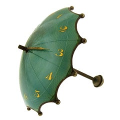 Rare Enamel Guilloche Umbrella Clock