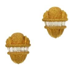 Buccellati Diamond Baguette Clip-On Earrings