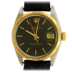 Rolex Stainless steel Date Black Dial automatic wristwatch Ref 1500, Circa 1978