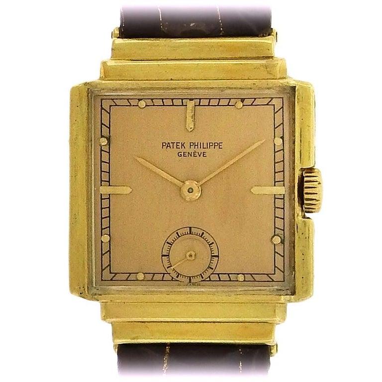 Patek Philippe Yellow Gold Stepped Case Manual Wristwatch Ref 1437, circa 1940s