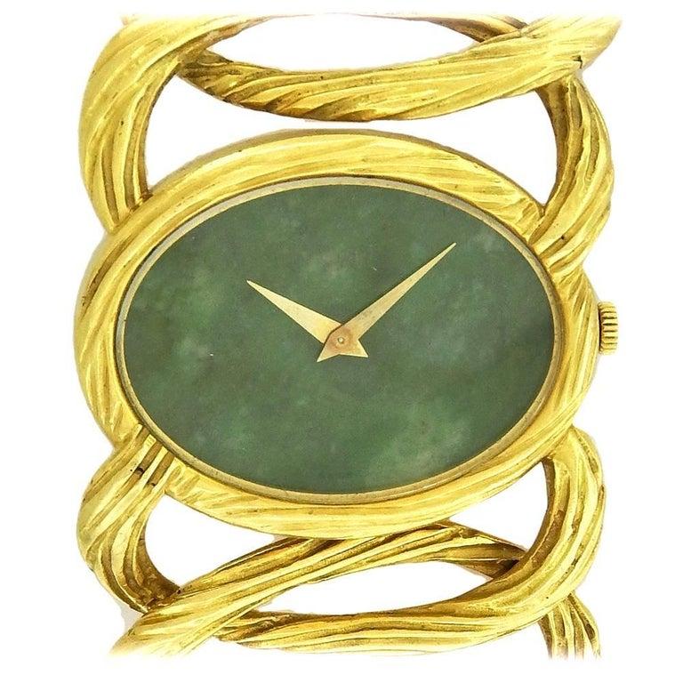 Piaget Ladies Yellow Gold Jade Dial Cocktail Manual Wristwatch, 1980s