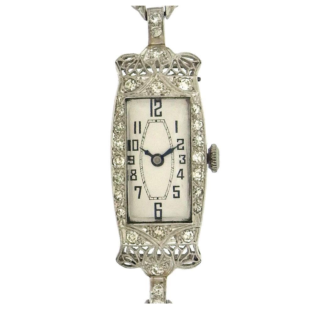 Belle Époque Ladies Platinum Diamond Wristwatch, circa 1915