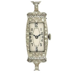 Belle Époque Ladies Platinum Diamond Wristwatch, circa 1915