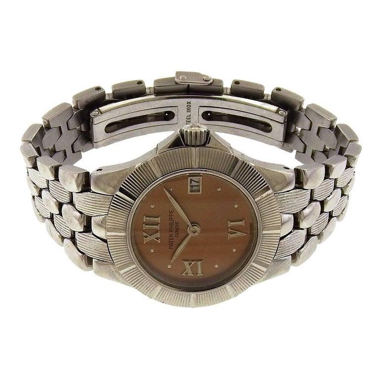 Patek Philippe Ladies stainless steel Neptune quartz Wristwatch Ref 4880/1A