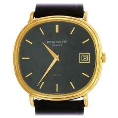 Patek Philippe Yellow Gold Ellipse Blue Dial automatic Wristwatch Ref 3989