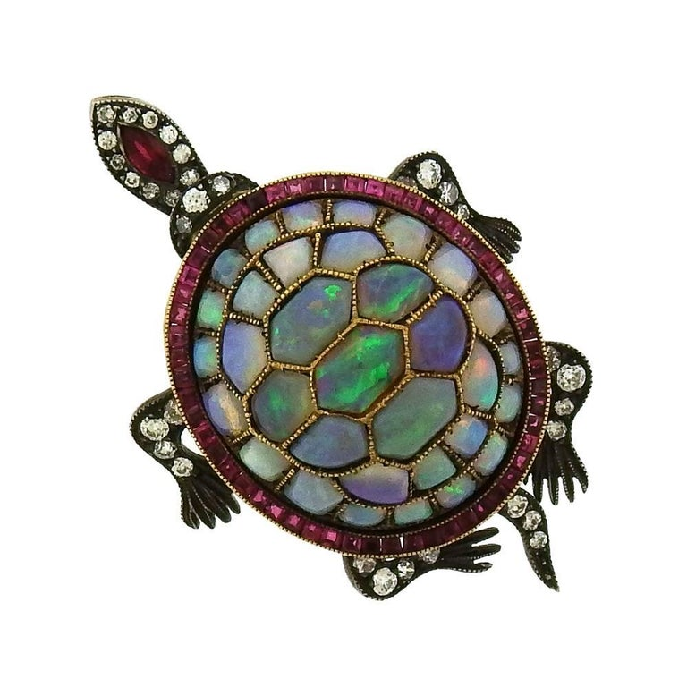 Antique Opal and Ruby Turtle Brooch