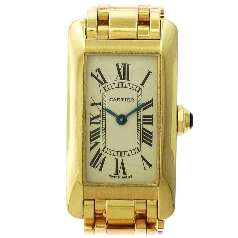 Cartier Ladies Yellow Gold Tank Americaine Ref 2482 Quartz Wristwatch