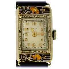 Elgin Ladies Yellow Gold Enamel Lady and The Tiger mechanical Wristwatch, 1920s