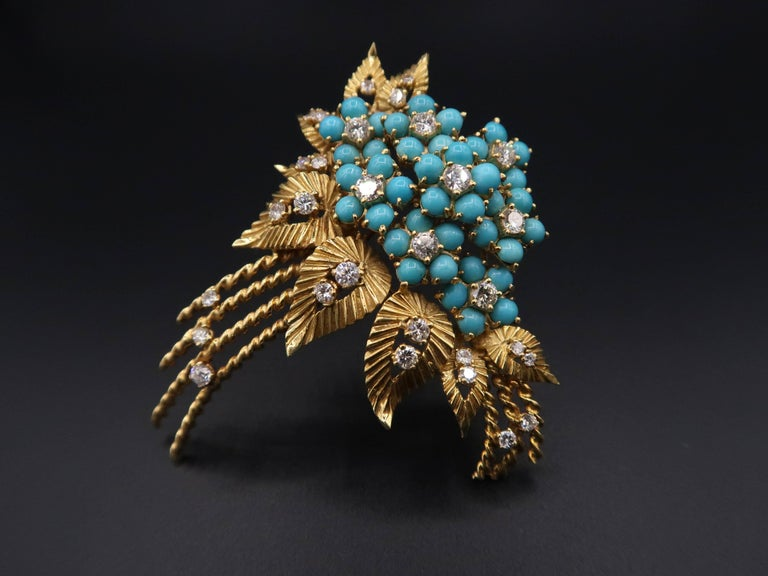 Turquoise Diamond Gold Flower Bouquet Brooch Turquoise: 40 pieces Diamond : Approx. 2.45ct. G colour VS Round Brilliant Gold : Approx. 27.465g. 18K Yellow Gold  Turquoise Diamond Gold Leaf Earrings Turquoise : 80+ pieces Diamond : Approx. 0.50ct. H